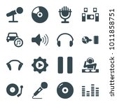 audio icons. set of 16 editable ... | Shutterstock .eps vector #1011858751