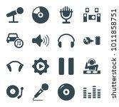 audio icons. set of 16 editable ... | Shutterstock .eps vector #1011858751