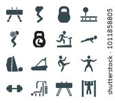 workout icons. set of 16... | Shutterstock .eps vector #1011858805