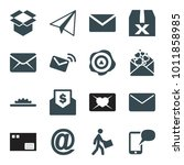 mail icons. set of 16 editable... | Shutterstock .eps vector #1011858985