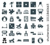 toy icons. set of 36 editable... | Shutterstock .eps vector #1011860665
