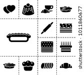 pastry icons. set of 13... | Shutterstock .eps vector #1011860677