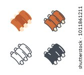 meat ribs food flat line icon | Shutterstock .eps vector #1011861211