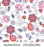 branched flowers and geometric... | Shutterstock .eps vector #1011861481