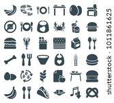 eat icons. set of 36 editable... | Shutterstock .eps vector #1011861625