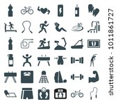 fitness icons. set of 36... | Shutterstock .eps vector #1011861727