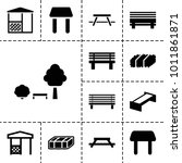 bench icons. set of 13 editable ... | Shutterstock .eps vector #1011861871
