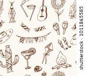 festa junina hand drawn doodle... | Shutterstock .eps vector #1011865585