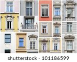 Vienna windows - collage - stock photo
