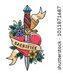 heart pierced with ancient... | Shutterstock .eps vector #1011871687