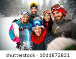 group of smiling friends having ... | Shutterstock . vector #1011872821
