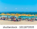 people are enjoying sunny day... | Shutterstock . vector #1011873535