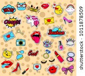 fashion patch badges with lips  ... | Shutterstock .eps vector #1011878509