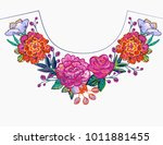 embroidery flower round neck... | Shutterstock .eps vector #1011881455