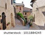 medieval street in the italian...   Shutterstock . vector #1011884245