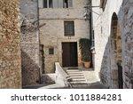 medieval street in the italian...   Shutterstock . vector #1011884281