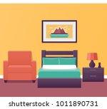 hotel room interior in flat... | Shutterstock .eps vector #1011890731