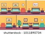 hotel rooms in flat design. set ... | Shutterstock .eps vector #1011890734