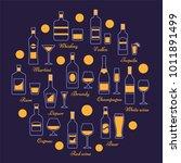 alcohol beverages set in line... | Shutterstock .eps vector #1011891499
