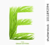 vector letter e of juicy grass... | Shutterstock .eps vector #1011892594