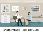 woman patient at a doctor's... | Shutterstock .eps vector #1011892681