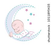 cute baby sleeping on the... | Shutterstock .eps vector #1011895435