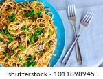 spaghetti alla puttanesca  ... | Shutterstock . vector #1011898945