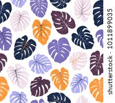 vector tropical pattern with...   Shutterstock .eps vector #1011899035