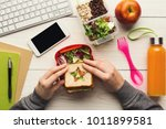 healthy snack at office... | Shutterstock . vector #1011899581