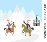 tournament of two knights on... | Shutterstock .eps vector #1011915139
