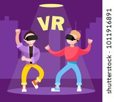 game in the glasses of virtual... | Shutterstock .eps vector #1011916891
