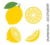fresh lemon fruits  collection... | Shutterstock .eps vector #1011918559