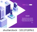 businessman in data center room.... | Shutterstock .eps vector #1011918961