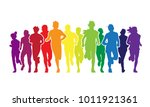 running people. colorful crowd... | Shutterstock .eps vector #1011921361