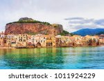 cityscape of cefalu old town... | Shutterstock . vector #1011924229