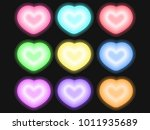 set heart neon vector  | Shutterstock .eps vector #1011935689