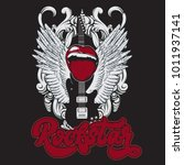 rockstar. handwritten lettering.... | Shutterstock .eps vector #1011937141