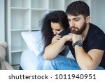 stressed couple arguing and... | Shutterstock . vector #1011940951