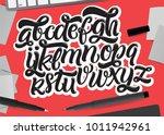 handwritten script font. vector ... | Shutterstock .eps vector #1011942961