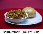 egusi soup and garri. popular...   Shutterstock . vector #1011943885