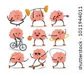 brain cartoon character vector... | Shutterstock .eps vector #1011944011