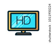hd tv icon filled outline | Shutterstock .eps vector #1011950224