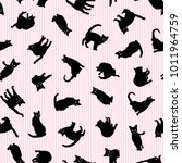 pretty cat pattern  i made the ... | Shutterstock .eps vector #1011964759