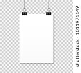 white poster hanging on binder. ... | Shutterstock .eps vector #1011971149