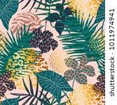 trendy seamless exotic pattern... | Shutterstock .eps vector #1011974941