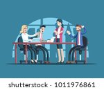 business meeting or conference. ... | Shutterstock .eps vector #1011976861