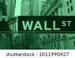 wall street sign and new york...   Shutterstock . vector #1011990427