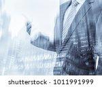 double exposure of businessman... | Shutterstock . vector #1011991999
