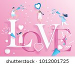 lovely joyful couple valentine... | Shutterstock .eps vector #1012001725