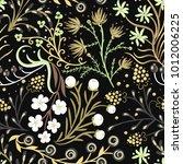 floral seamless pattern. hand... | Shutterstock .eps vector #1012006225